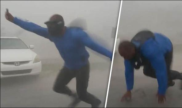 Meteorologist Man Tries to Measure Irma Wind Speed and Almost Got Blown Away
